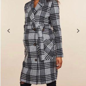 Motherhood Maternity Plaid Winter Coat